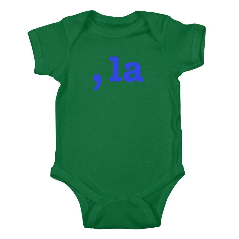 Comma la - Get it?  Visual Pun in blue Kids Baby Bodysuit by DB Stevens' Shop