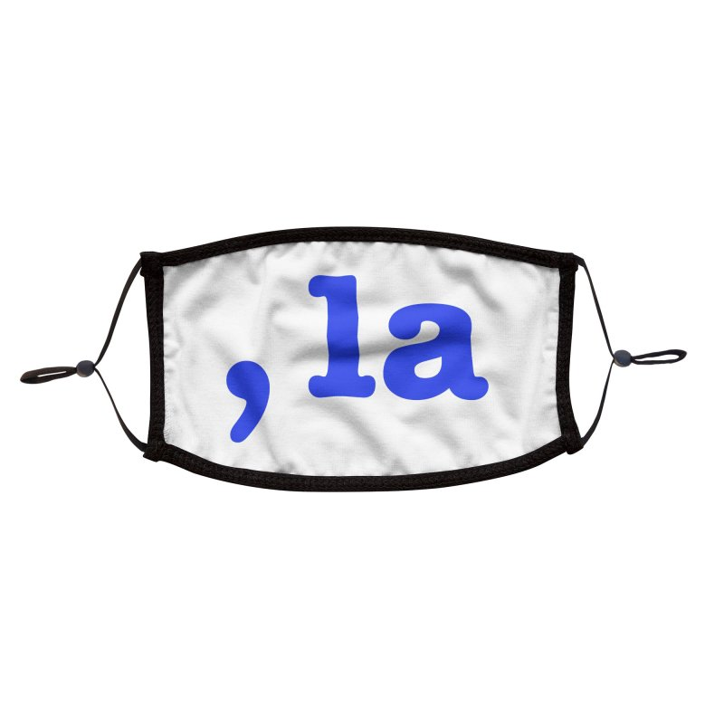 Comma la - Get it?  Visual Pun in blue with white outline Accessories Face Mask by DB Stevens' Shop