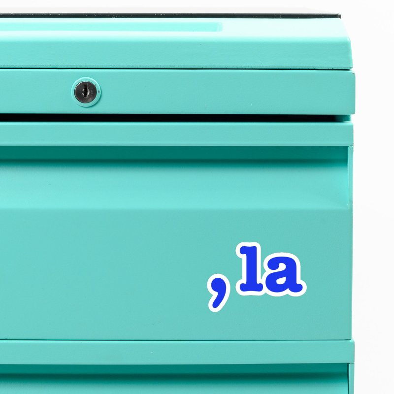 Comma la - Get it?  Visual Pun in blue with white outline Accessories Magnet by DB Stevens' Shop