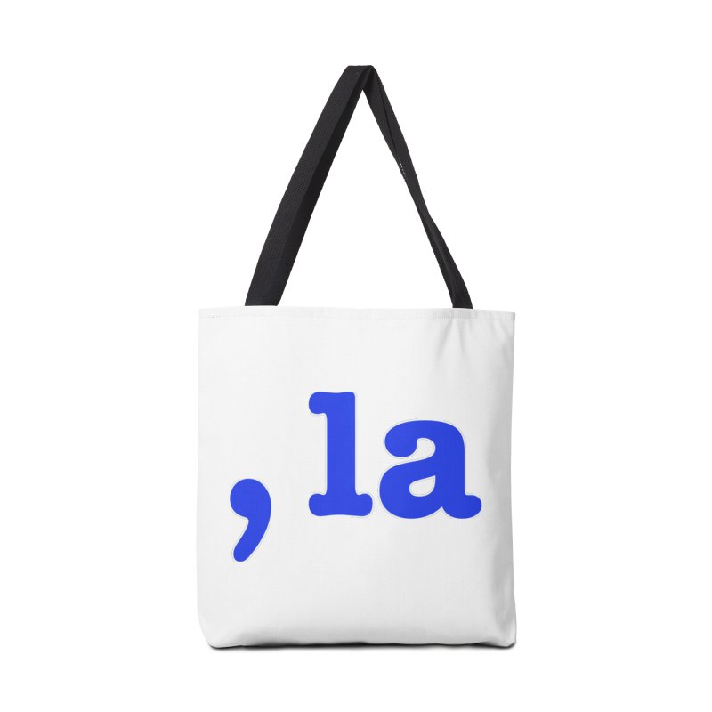 Comma la - Get it?  Visual Pun in blue with white outline Accessories Bag by DB Stevens' Shop