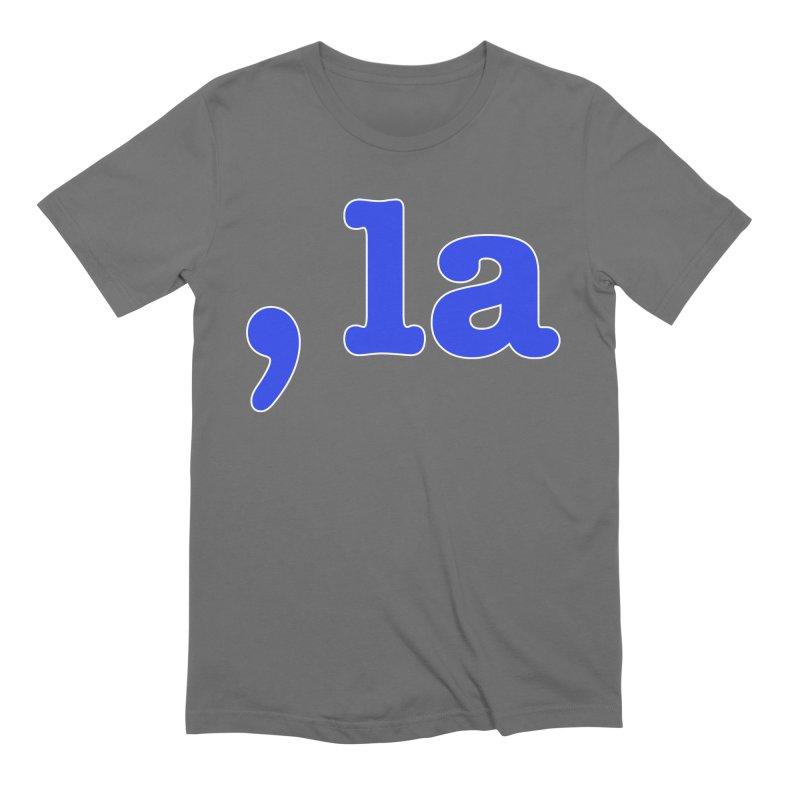 Comma la - Get it?  Visual Pun in blue with white outline Men's T-Shirt by DB Stevens' Shop