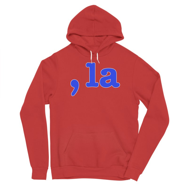 Comma la - Get it?  Visual Pun in blue with white outline Men's Pullover Hoody by DB Stevens' Shop