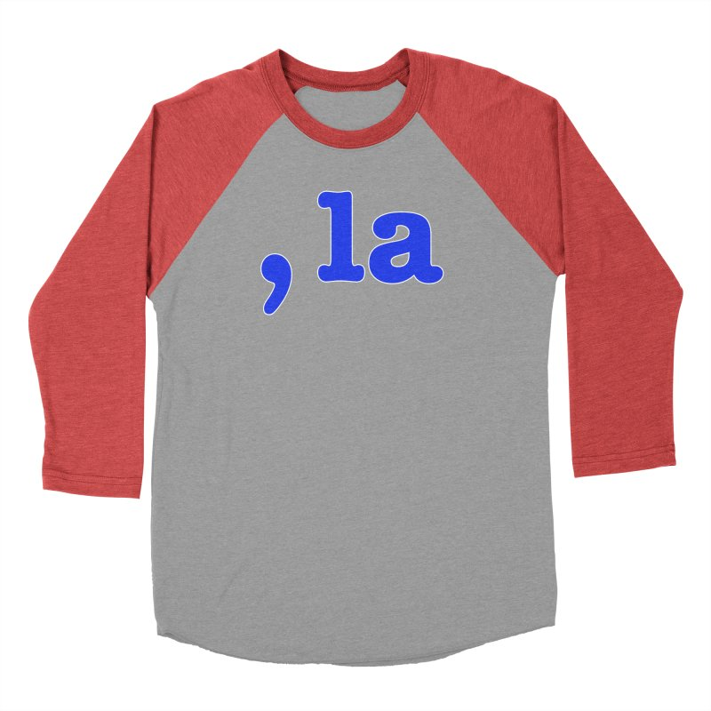 Comma la - Get it?  Visual Pun in blue with white outline Men's Longsleeve T-Shirt by DB Stevens' Shop