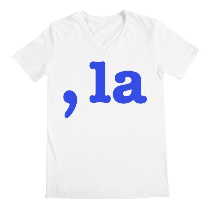 Comma la - Get it?  Visual Pun in blue with white outline Men's V-Neck by DB Stevens' Shop
