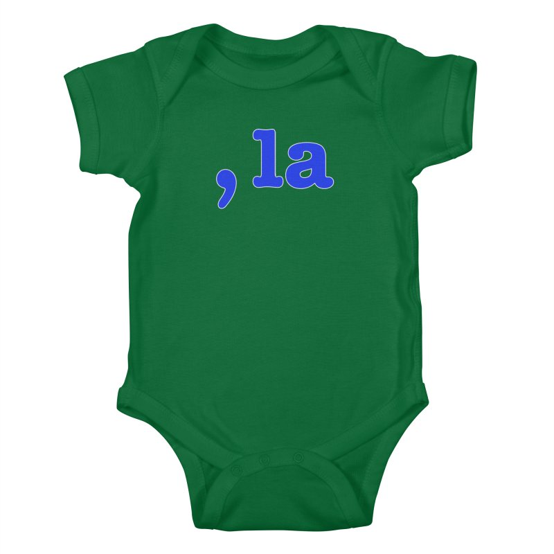 Comma la - Get it?  Visual Pun in blue with white outline Kids Baby Bodysuit by DB Stevens' Shop