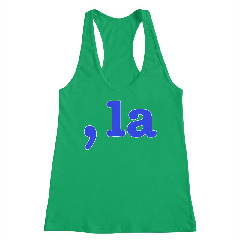 Comma la - Get it?  Visual Pun in blue with white outline Women's Tank by DB Stevens' Shop