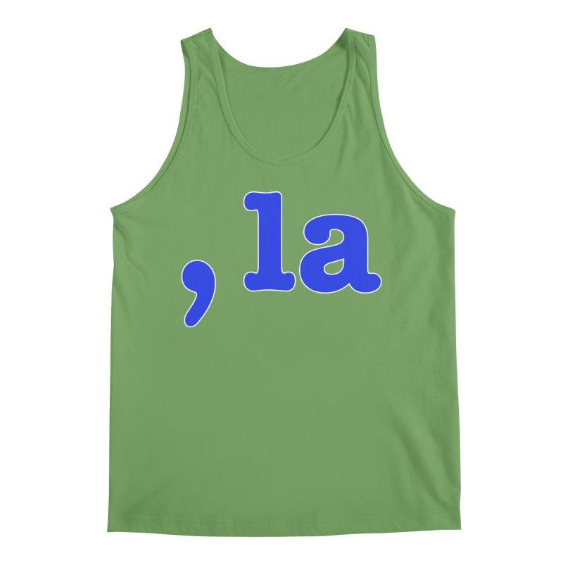 Comma la - Get it?  Visual Pun in blue with white outline Men's Tank by DB Stevens' Shop