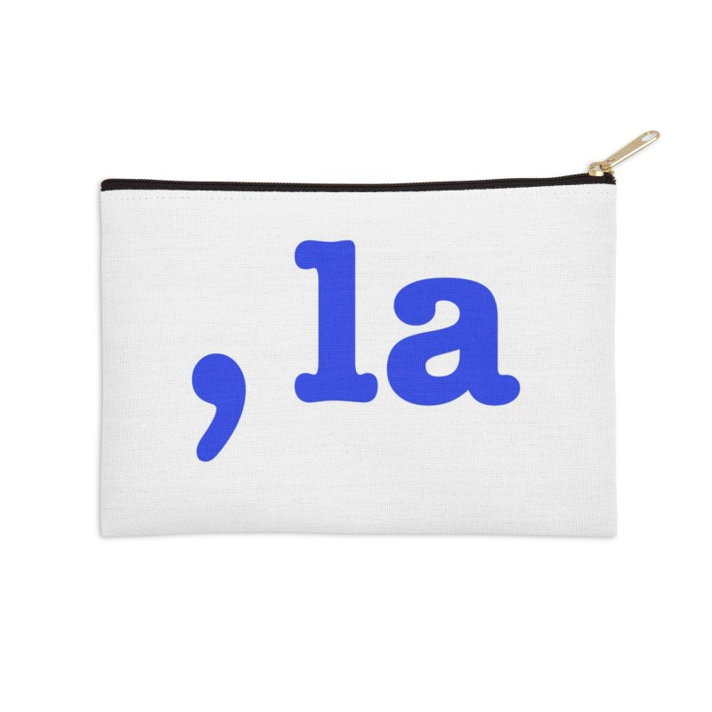 Comma la - Get it?  Visual Pun in blue with white outline Accessories Zip Pouch by DB Stevens' Shop