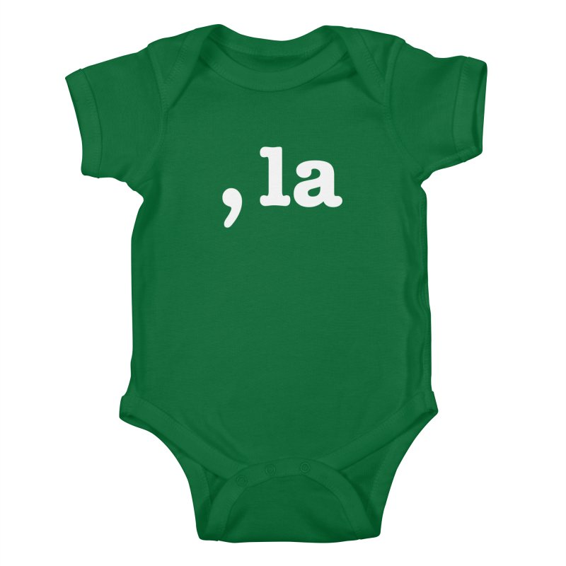 Comma la - Get it?  Visual Pun in white Kids Baby Bodysuit by DB Stevens' Shop
