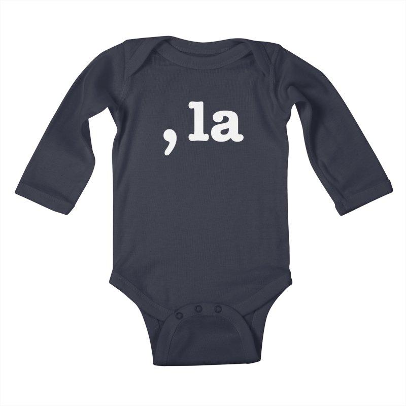 Comma la - Get it?  Visual Pun in white Kids Baby Longsleeve Bodysuit by DB Stevens' Shop