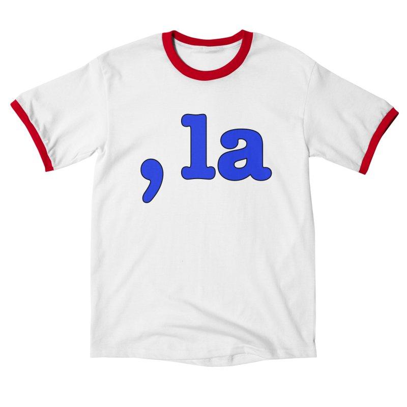 Comma la - Get it?  Visual Pun in blue with black outline Women's T-Shirt by DB Stevens' Shop