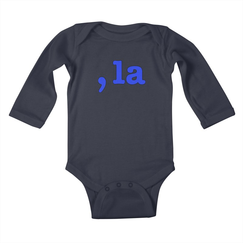 Comma la - Get it?  Visual Pun in blue with black outline Kids Baby Longsleeve Bodysuit by DB Stevens' Shop