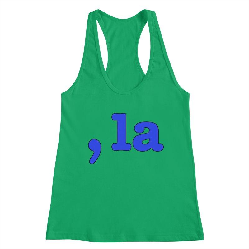 Comma la - Get it?  Visual Pun in blue with black outline Women's Tank by DB Stevens' Shop