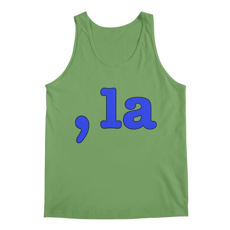 Comma la - Get it?  Visual Pun in blue with black outline Men's Tank by DB Stevens' Shop