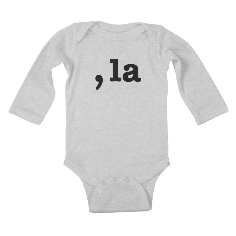 Comma la - Get it?  Visual Pun in black with white outline Kids Baby Longsleeve Bodysuit by DB Stevens' Shop