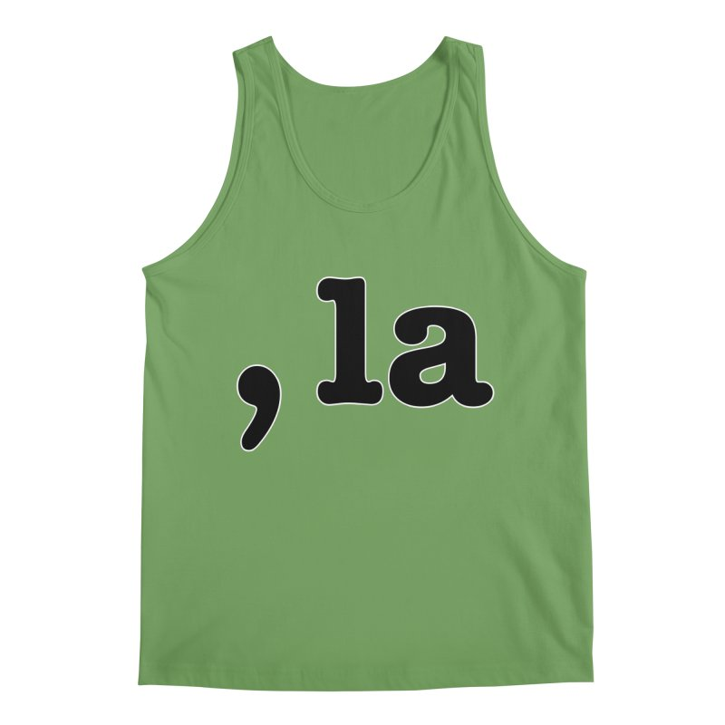 Comma la - Get it?  Visual Pun in black with white outline Men's Tank by DB Stevens' Shop