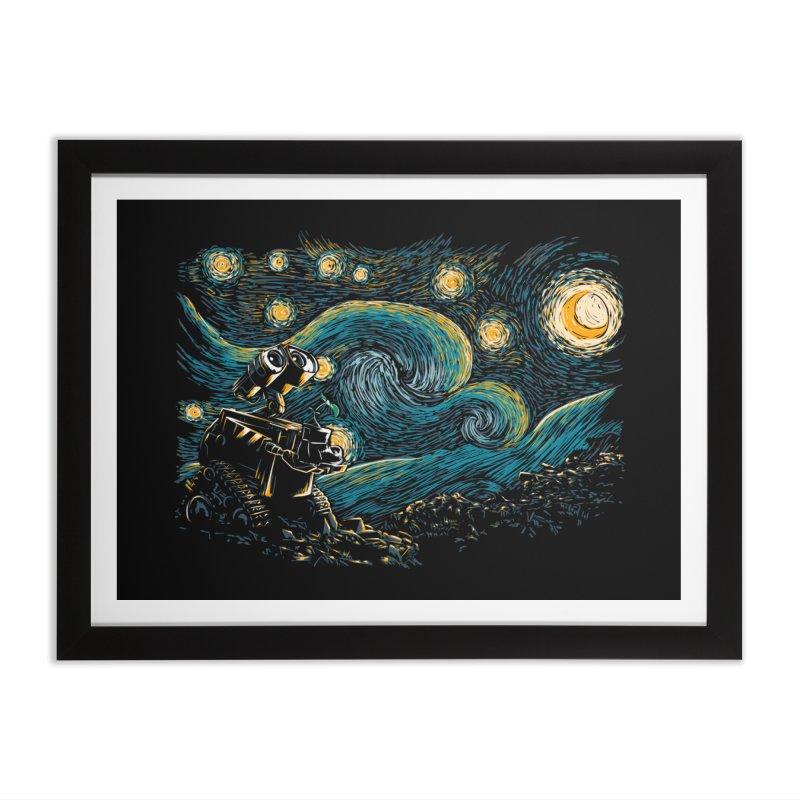 Starry Robot Home Framed Fine Art Print by ddjvigo