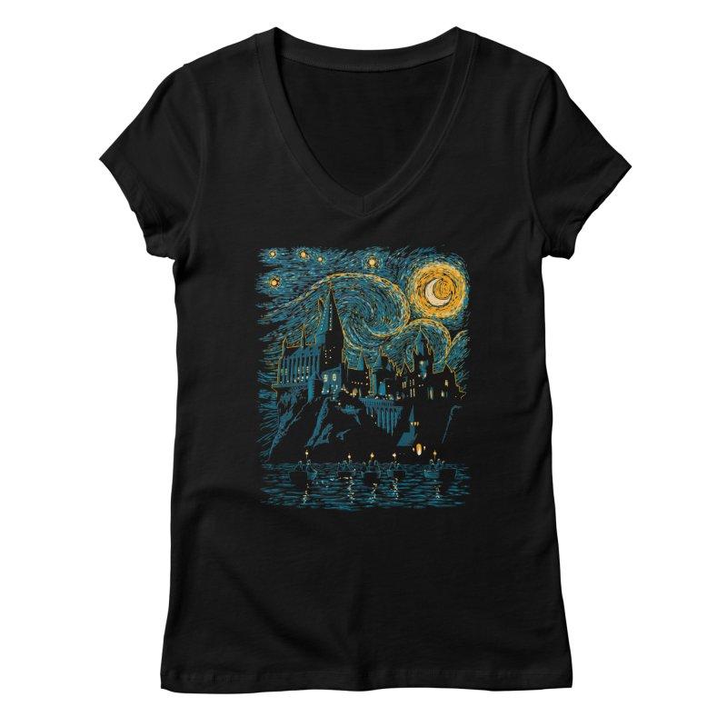 Starry School - Hogwarts Women's V-Neck by ddjvigo