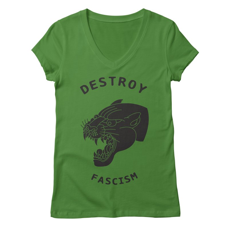 Destroy Fascism Women's V-Neck by DEADBEAT HERO Artist Shop