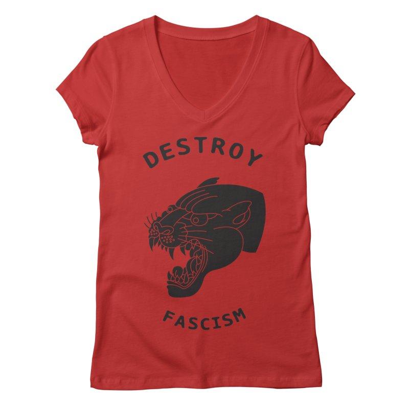 Destroy Fascism Women's Regular V-Neck by DEADBEAT HERO Artist Shop