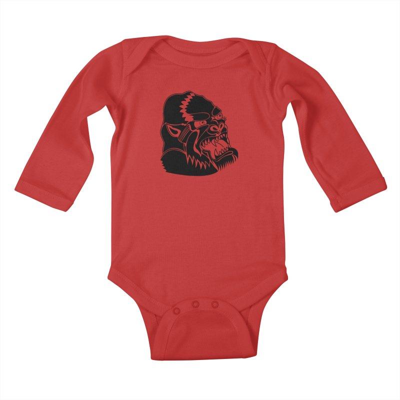 Beast Neck Face Kids Baby Longsleeve Bodysuit by DEADBEAT HERO Artist Shop