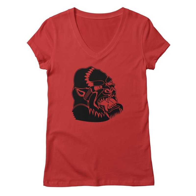 Beast Neck Face Women's Regular V-Neck by DEADBEAT HERO Artist Shop