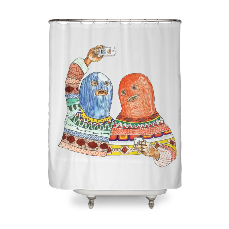 Selfies Home Shower Curtain by DEADBEAT HERO Artist Shop