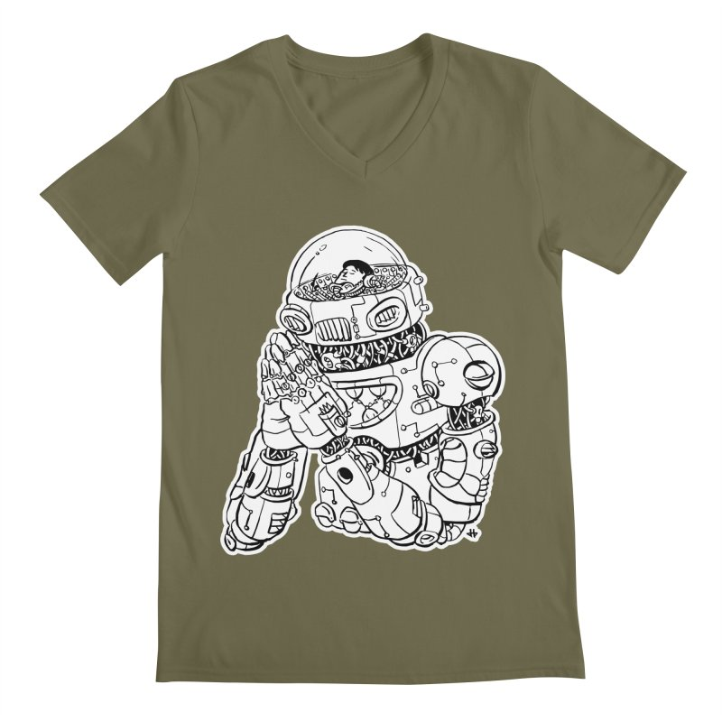 Spaceman Prey Men's Regular V-Neck by DEADBEAT HERO Artist Shop
