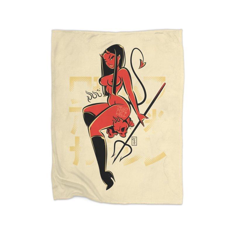 Hell's Angel - Art Print Home Blanket by Dead Pop Hell Shop