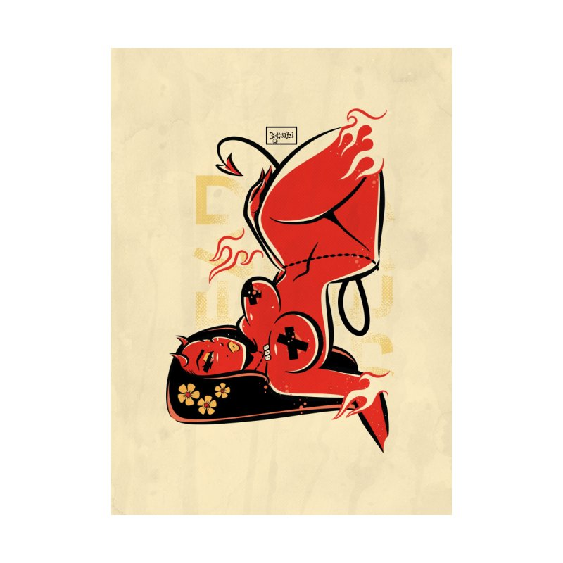 Hell Vibes Devil Girl - Art Print Home Blanket by Dead Pop Hell Shop
