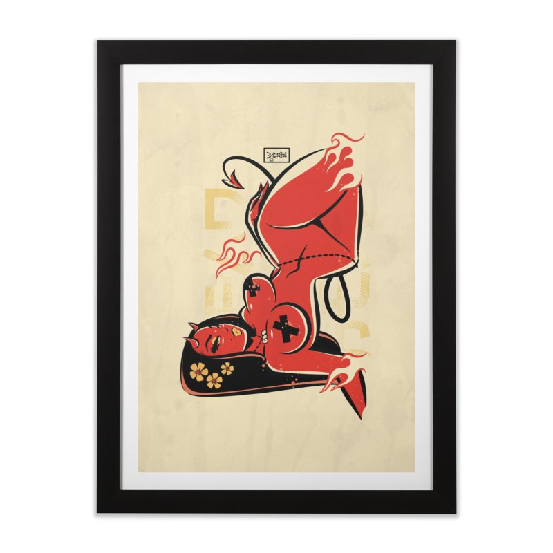 Hell Vibes Devil Girl - Art Print Home Framed Fine Art Print by Dead Pop Hell Shop