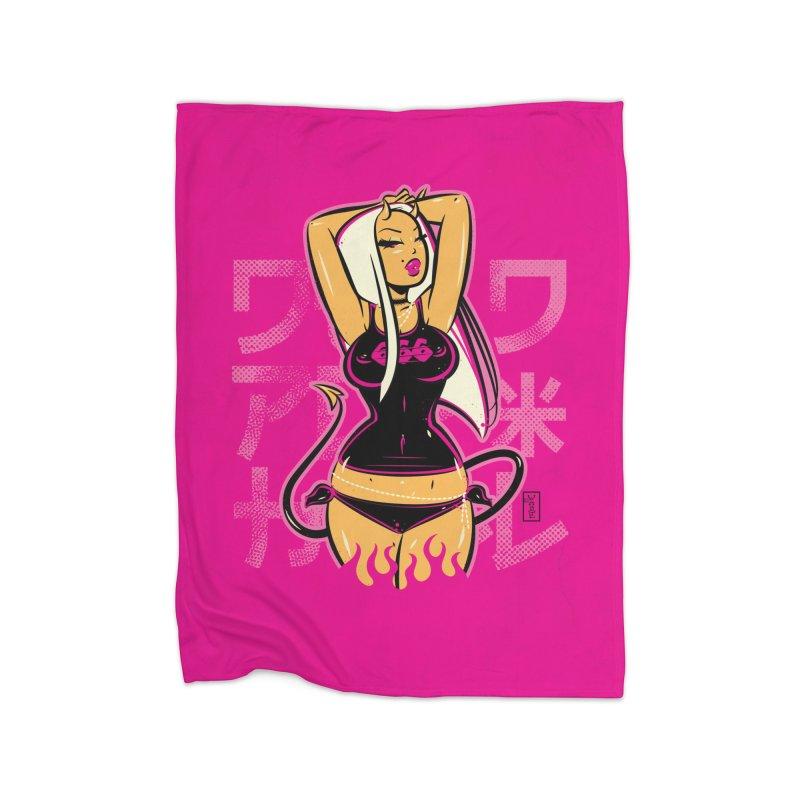 Suicide Blonde Devil Doll - Art Print Home Blanket by Dead Pop Hell Shop