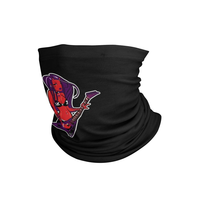 Devil Girl with Heavy Metal V Guitar Accessories Neck Gaiter by Dead Pop Hell Shop