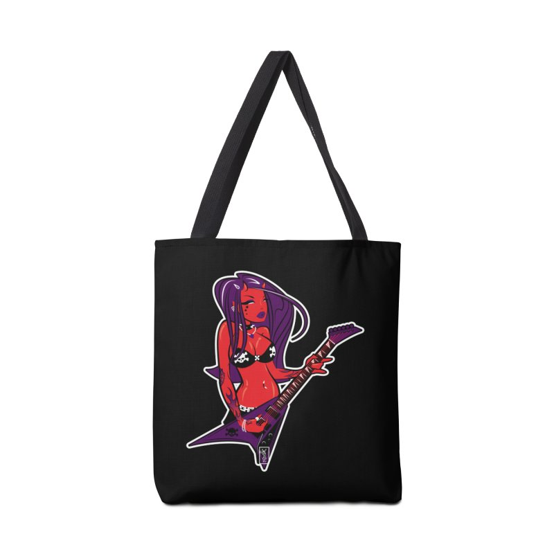 Devil Girl with Heavy Metal V Guitar Accessories Bag by Dead Pop Hell Shop