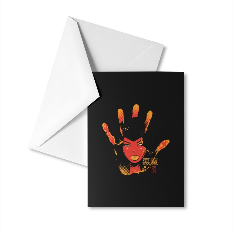 Demon Devil Girl Hand Accessories Greeting Card by Dead Pop Hell Shop