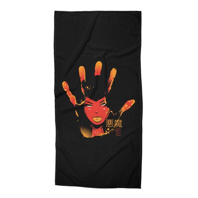 Demon Devil Girl Hand Accessories Beach Towel by Dead Pop Hell Shop