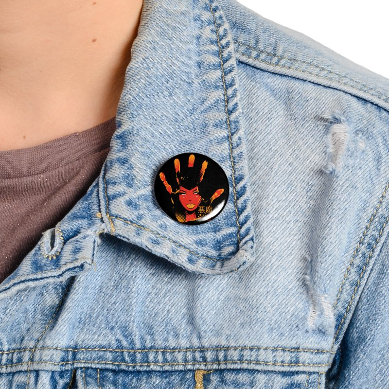 Demon Devil Girl Hand Accessories Button by Dead Pop Hell Shop