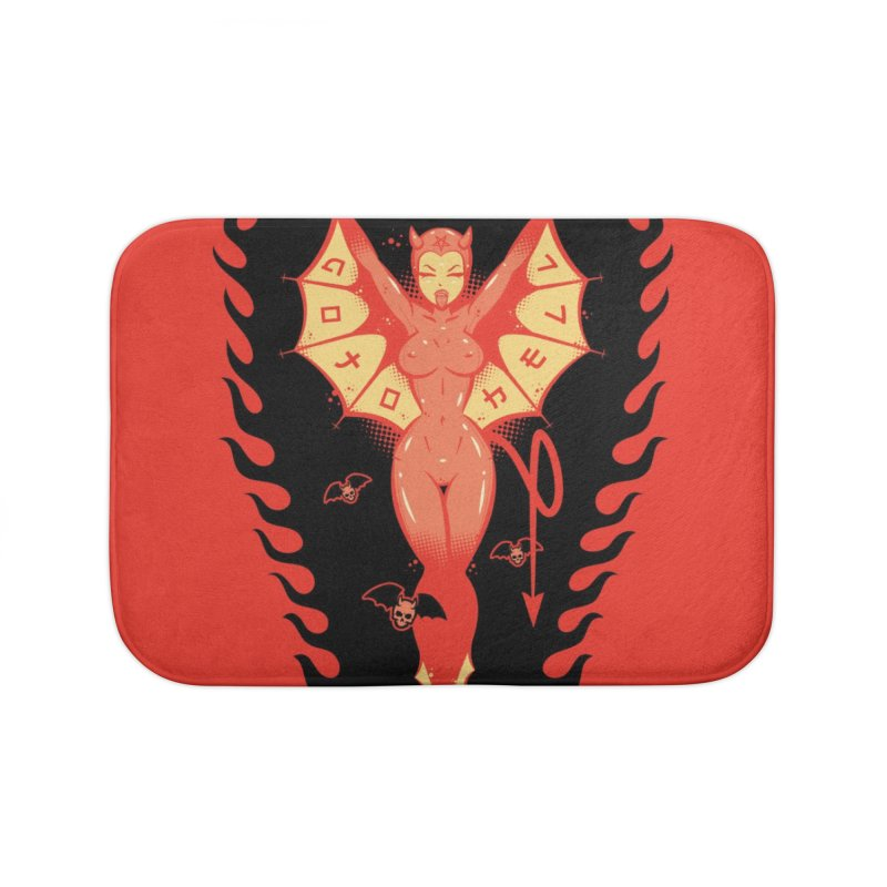 Go To Hell Latex Devil Doll Home Bath Mat by Dead Pop Hell Shop