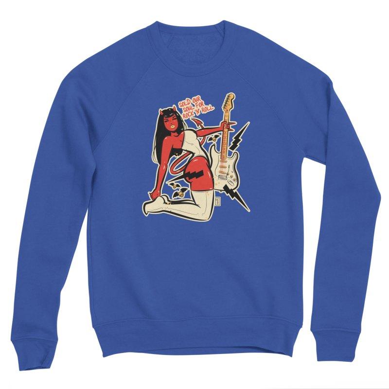 Sold Our Soul for Rock 'N' Roll Devil Girl Men's Sweatshirt by Dead Pop Hell Shop