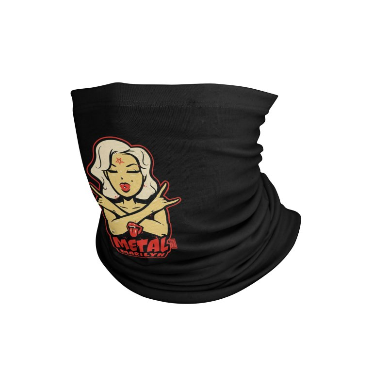 Metal Marilyn throwing up the horns! Accessories Neck Gaiter by Dead Pop Hell Shop