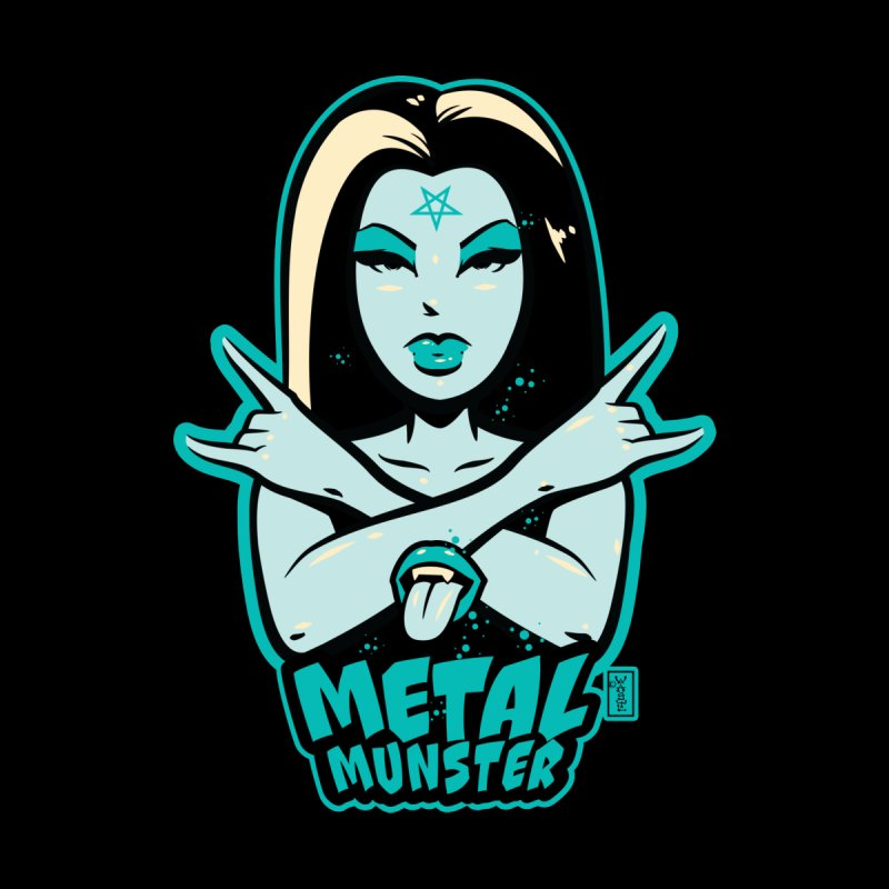 Metal Munster throwing up the horns! Women's Longsleeve T-Shirt by Dead Pop Hell Shop