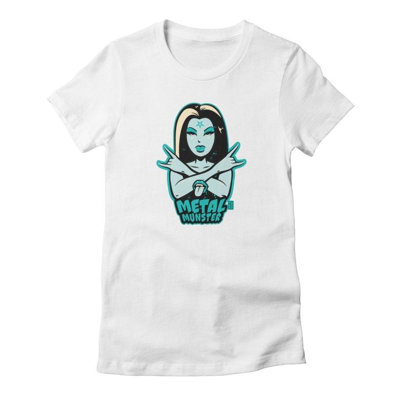 Metal Munster throwing up the horns! Women's T-Shirt by Dead Pop Hell Shop