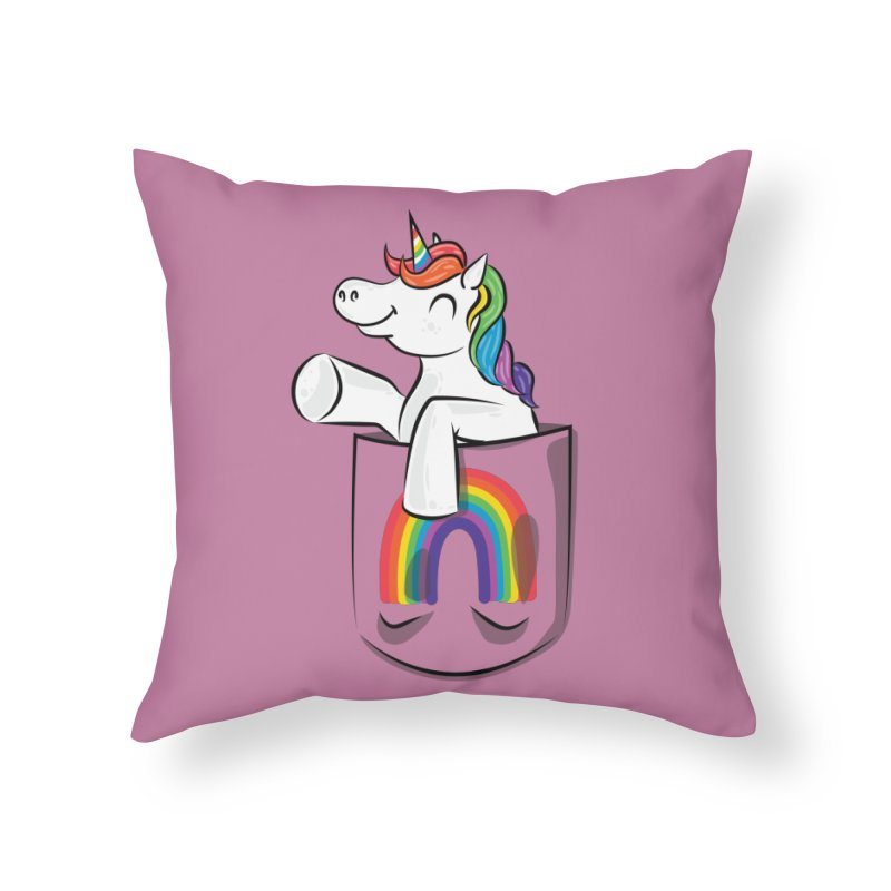 Pocket Unicorn Home Throw Pillow by Dean Cole Design