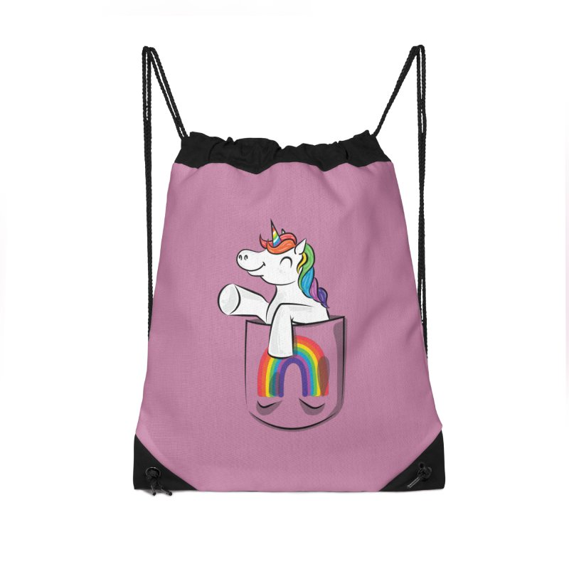 Pocket Unicorn Accessories Drawstring Bag Bag by Dean Cole Design