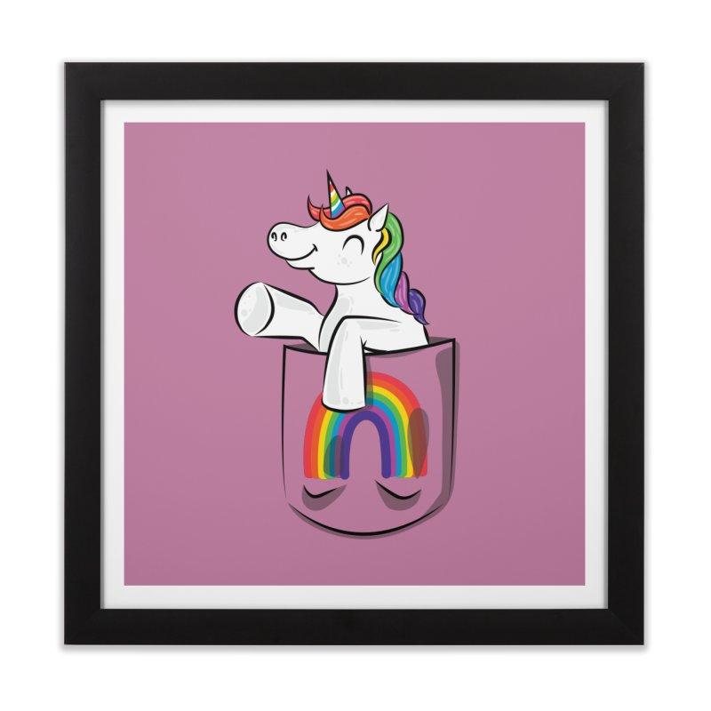 Pocket Unicorn Home Framed Fine Art Print by Dean Cole Design