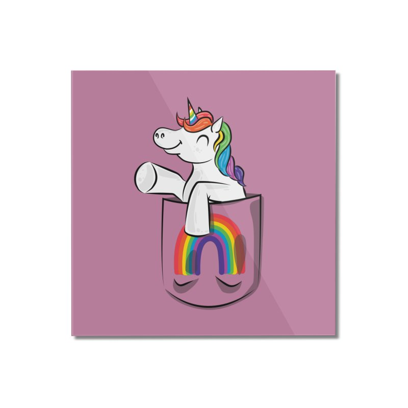 Pocket Unicorn Home Mounted Acrylic Print by Dean Cole Design