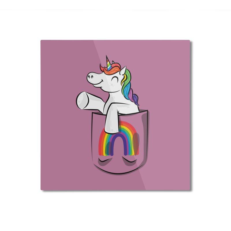 Pocket Unicorn Home Mounted Aluminum Print by Dean Cole Design