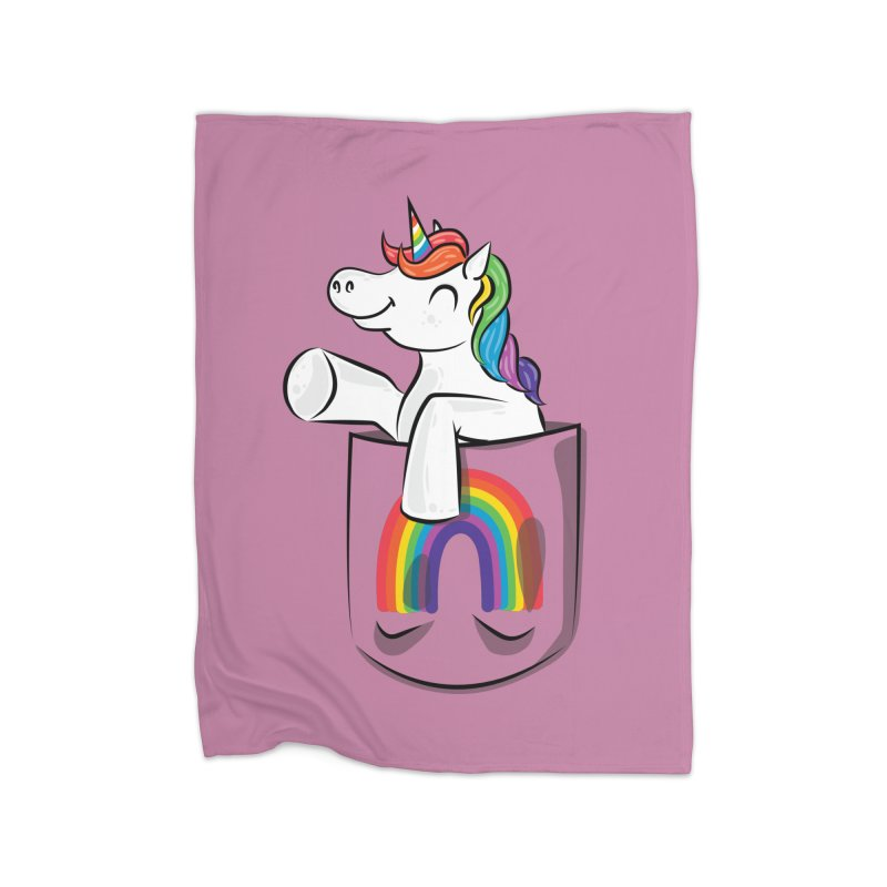 Pocket Unicorn Home Fleece Blanket Blanket by Dean Cole Design