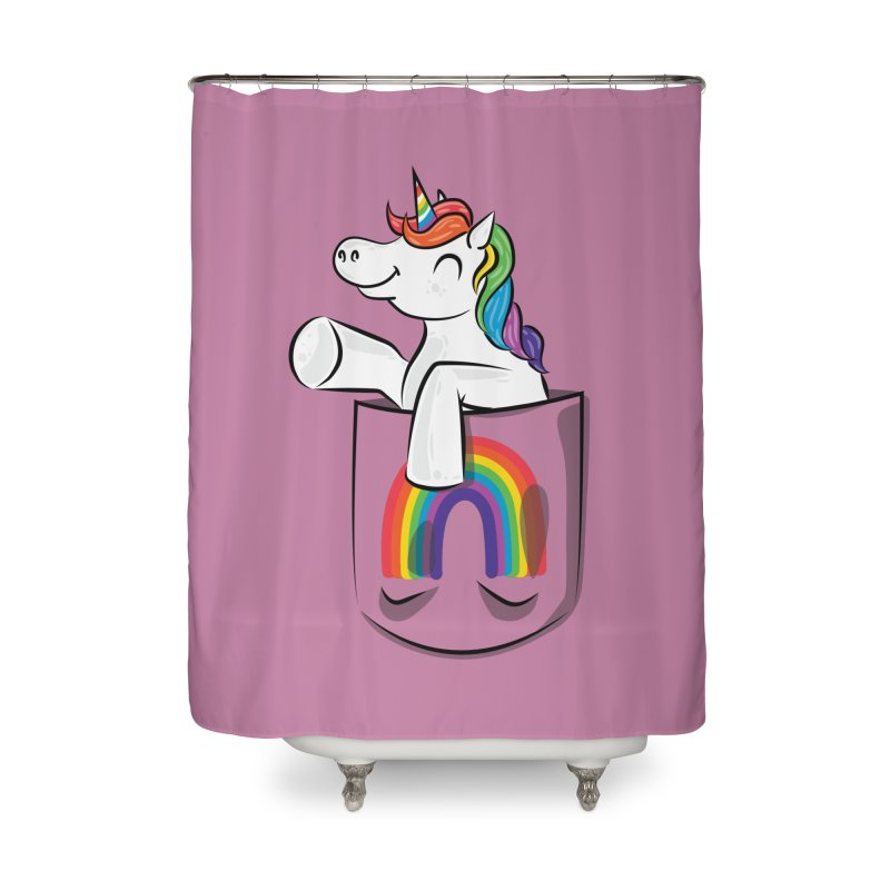 Pocket Unicorn Home Shower Curtain by Dean Cole Design