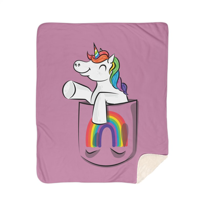 Pocket Unicorn Home Sherpa Blanket Blanket by Dean Cole Design
